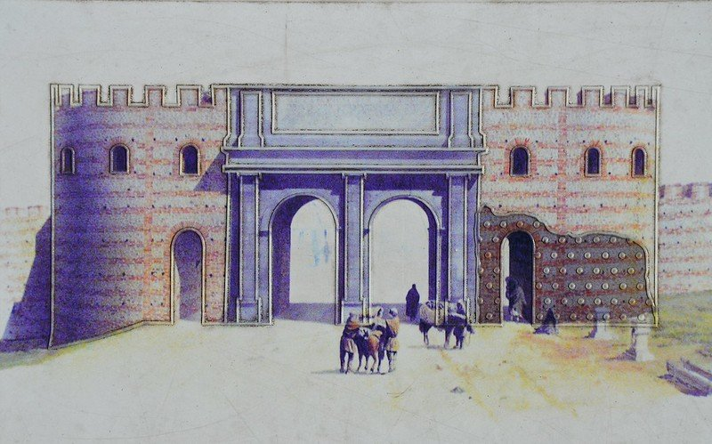 Reconstruction drawing of the Roman Balkerne Gate, old Colchester