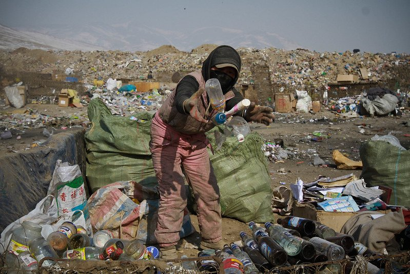 Sorting through plastic waste in Asia