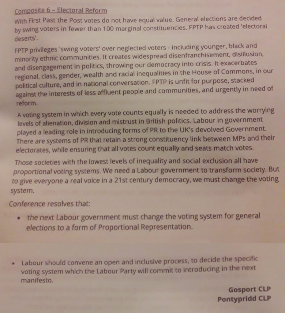 Composite motion on PR at Labour conference